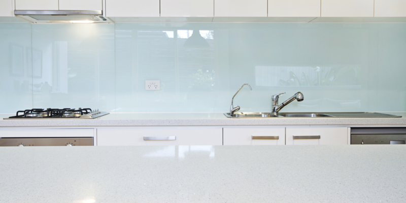 White Glass Splashback Kitchen