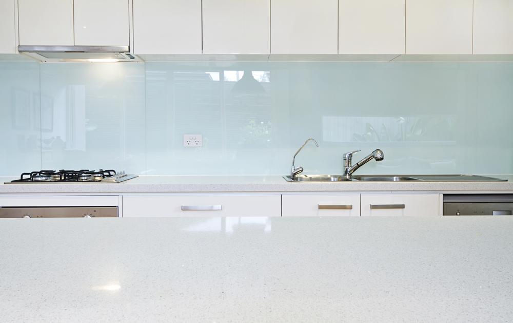 White Glass Splashback Kitchen