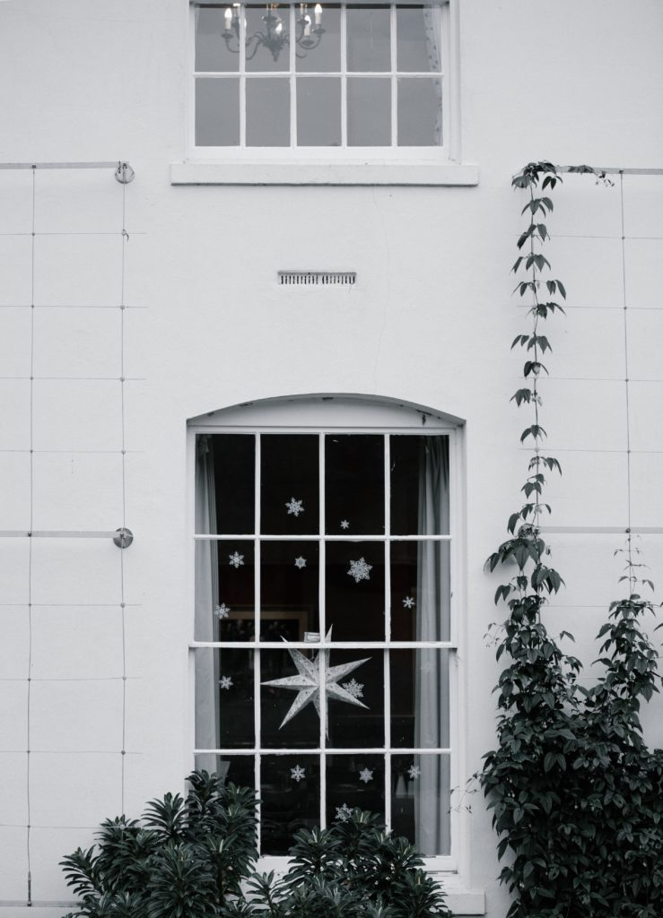 snowflakes in window