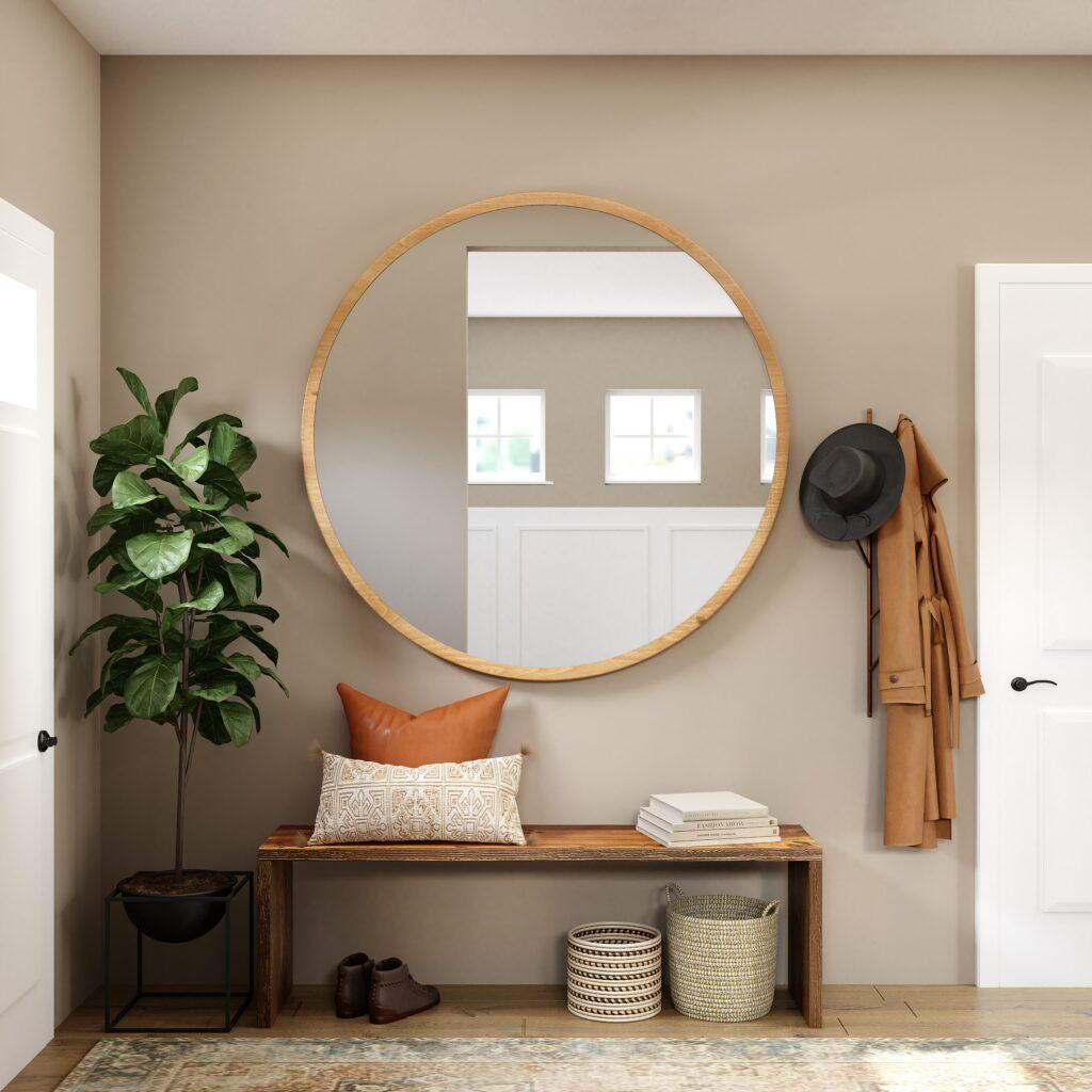 round mirror in hallway